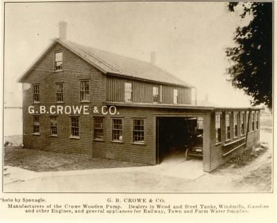 G. B. Crowe & Co.; manufacturers of the Crowe Wooden Pump; dealers in wood and steel tanks; windmils; gasoline and other engines; and general appliances for railway; town and farm water supplies. NovaMuse