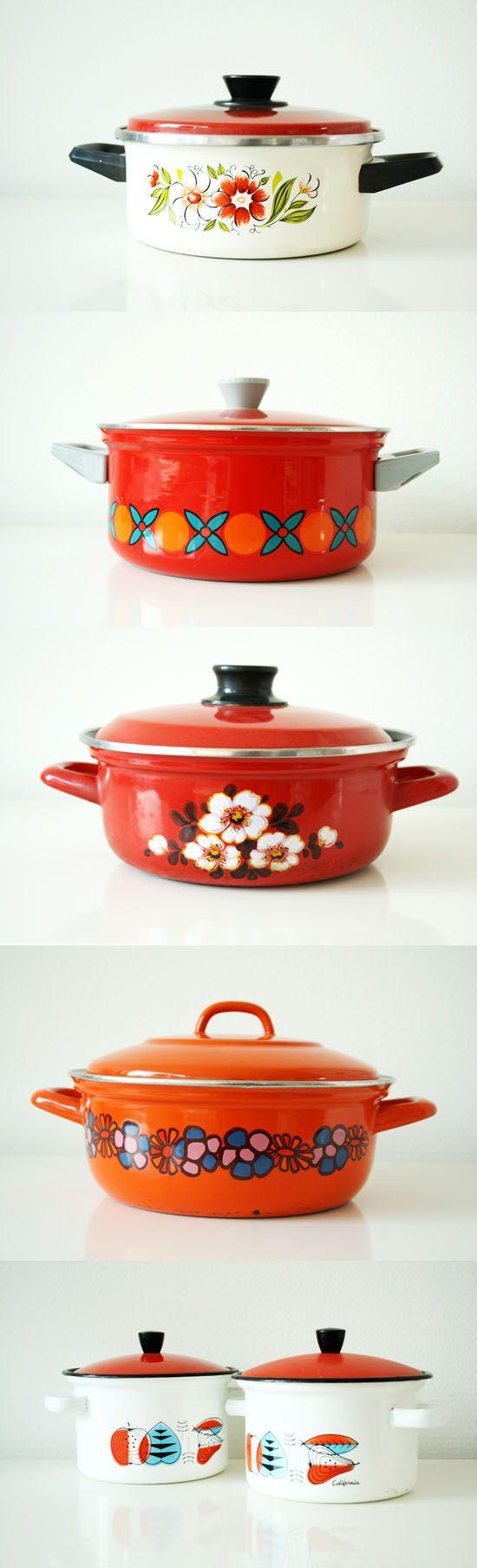 Colorful vintage cooking pans!