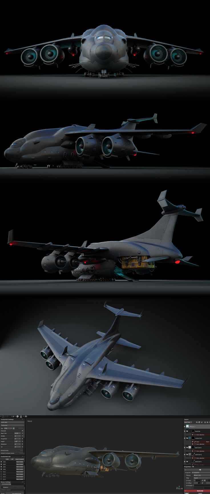 low poly, game  concept of big plane, with a great software Substance Painter ( ZBrush also :) )