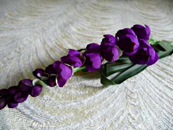 Vintage Hyacinth Spray Silk Millinery Flowers Royal by APinkSwan