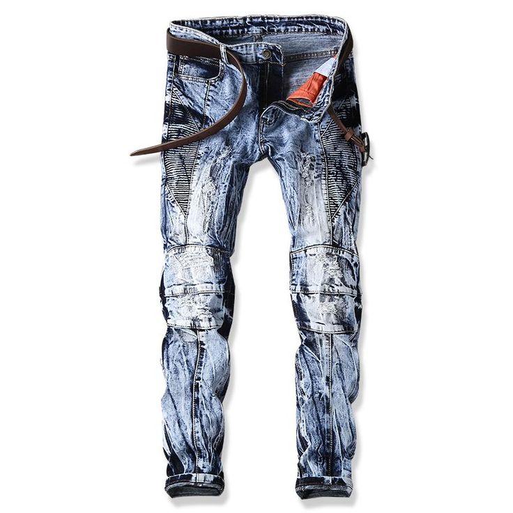 >> Click to Buy << Men Jeans Design Fashion Biker Runway Hiphop Slim Jeans For Men Cotton Good Quality Motorcycle Jeans Blue Black 28-38 #Affiliate