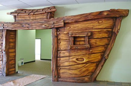 SG Studios creating themed environments for children's spaces in churches. SGS created a large scale Noah's Ark entryway into the children's ministry area.