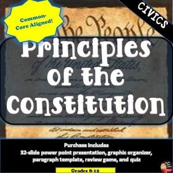 Principles of the Constitution Lecture & Review Game (Civics) Students will be able to understand the Principles of the Constitution ( Popular Sovereignty, Limited Government, Separation of Powers, Checks and Balances, Judicial Review) by reviewing this information lecture and wrap-up paragraph. Then assess their knowledge by completing this fun and interactive review game. A formative assessment quiz is included!