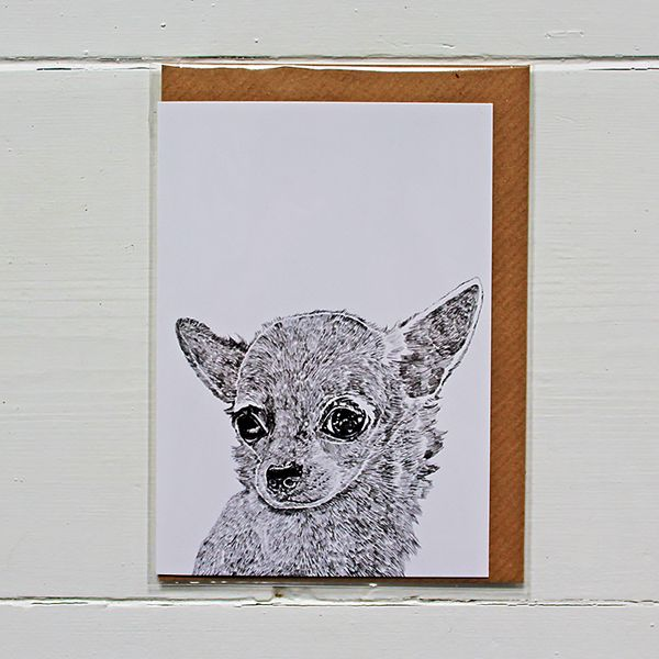 Beautifully designed greetings card by Ros Shiers, featuring Teddy The Chiwauwau.