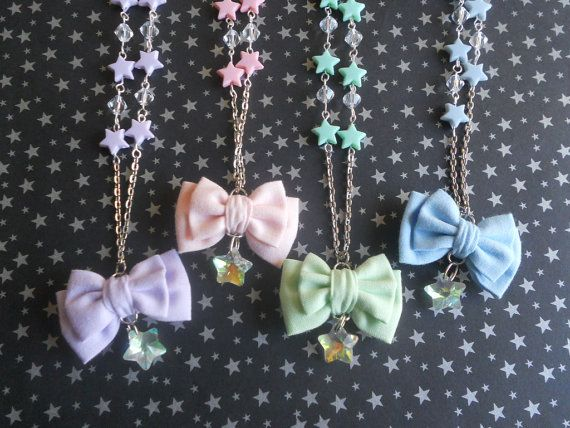 Fairy kei mini bow and stars necklace by LittleBanshees on Etsy
