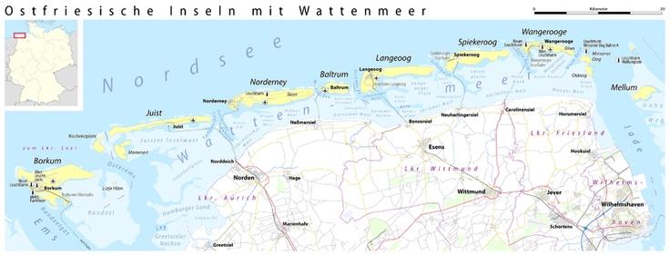 The 7 islands at the North Sea - Borkum, Juist, Norderney, Baltrum, Langeoog, Spiekeroog, and Wangeoog