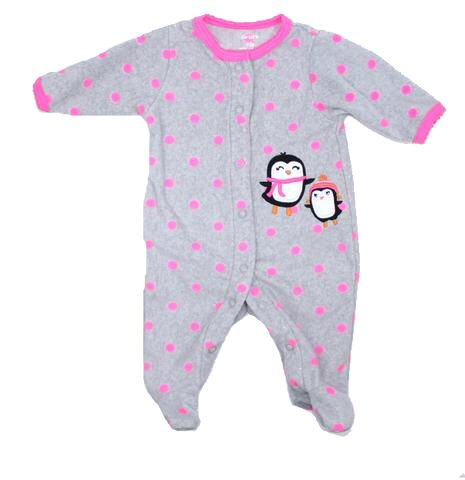 New Born Baby Girls Fleece Sleeper in Grey with Pink Polka Dots and Penguins by Carters