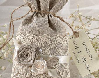Custom listing (20) Rustic Wedding Favor Bag, Lace Wedding Favor Bag, Wedding Thank you Bag, Linen Lace Gift Bag