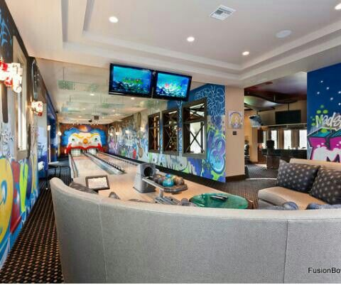 This is my game room with playstation 4 and a bowling. On