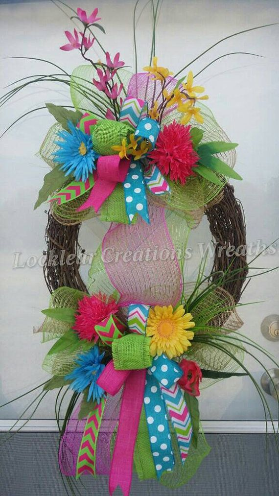 Spring Door Wreath Ideas Part - 40: Easter Spring Wreath Spring Deco Mesh By LocklearCreations13