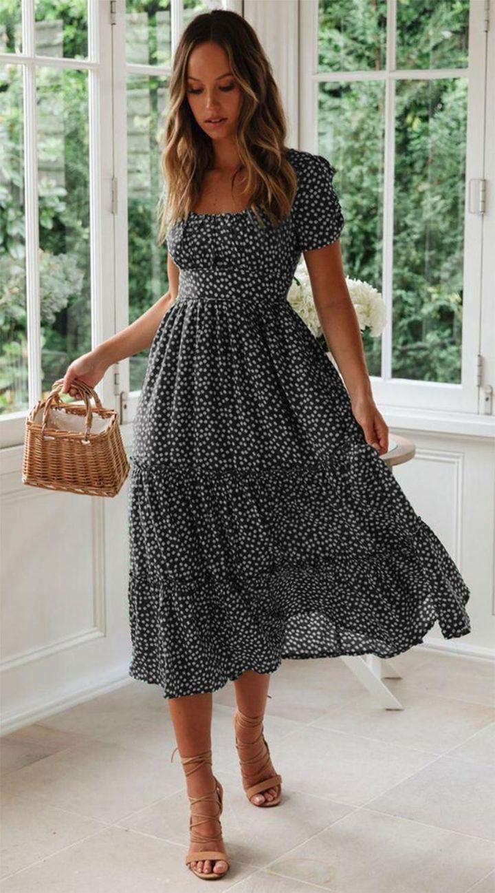 Vintage Vintage Print Puff Sleeve Beach Sweet Dresses Casual Summer Dresses Bohemian Casual Dress Boho Dress [ 1297 x 720 Pixel ]