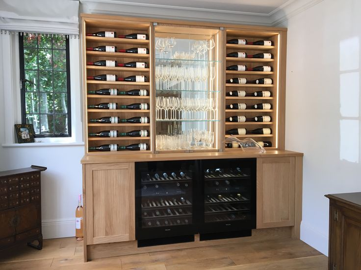 oak bar dresser with horizontal wine storage wine coolers u0026 mirrored shelving
