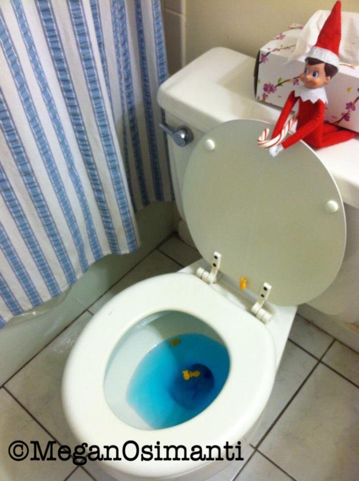 Elf on a Shelf Idea - Candy Cane fishing pole goldfish toilet