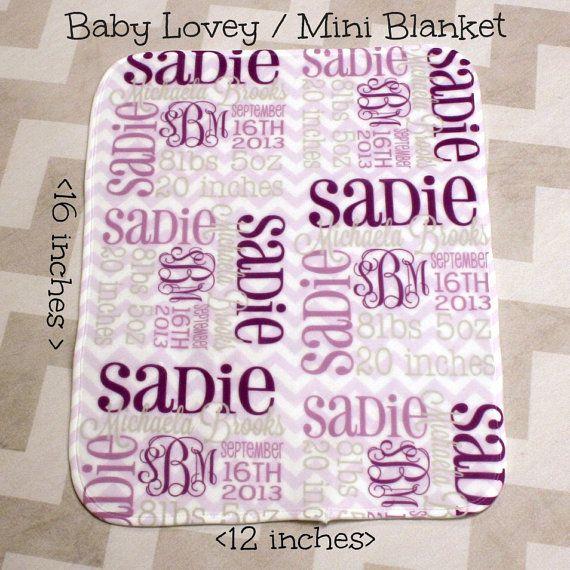 Personalized Baby Lovey MINI BLANKIE by monogrammarketplace