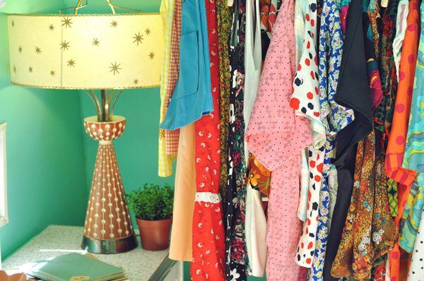 Vintage lamp & dresses.