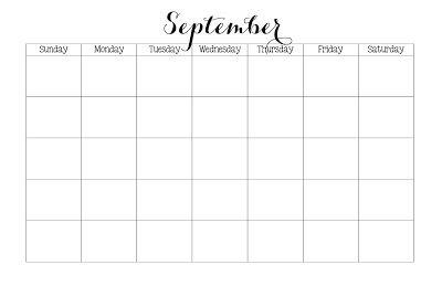 Blank September Calendar Free Printable 11x17