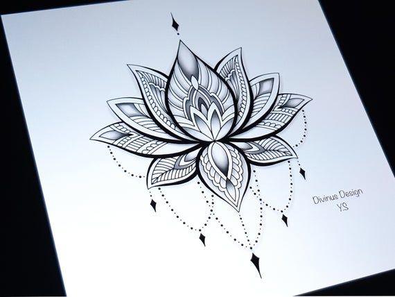 Lotus Mandala Tattoo Design And Stencil Lotus Henna Tattoo Tribal Mandala Tattoo Instant Digital Download Tattoo Permit Mandala Tattoo Design Lotus Tattoo Design Mandala Tattoo Shoulder