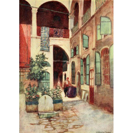 Constantinople 1906 Carpet warehouse Canvas Art - Warwick Goble (18 x 24)