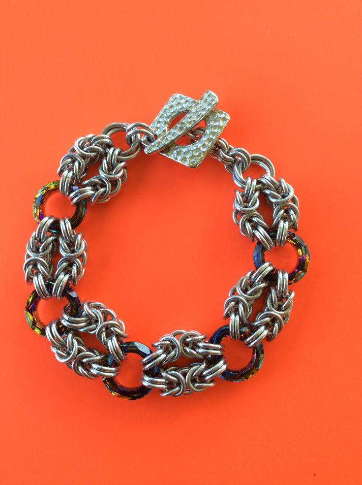 Aluminium Byzantine with Swarovski crystal rings.  Made by Jenny Wadsworth