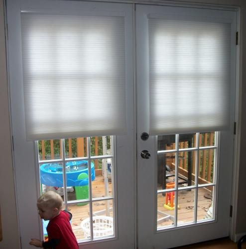 Light Filtering Cellular Shade French Doors Window And