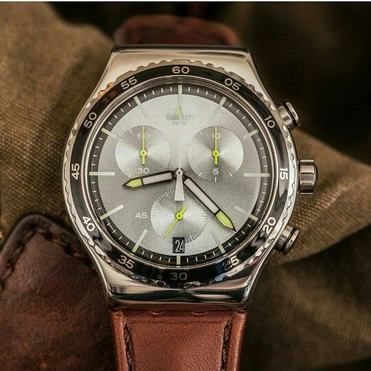 Vintage al polso...#gioielleriagigante #swatch #thesecondwatch #glamourman http://www.gioielleriagigante.it/prodotto/stock-xchange-chrono-swatch-referenza-yvs429/