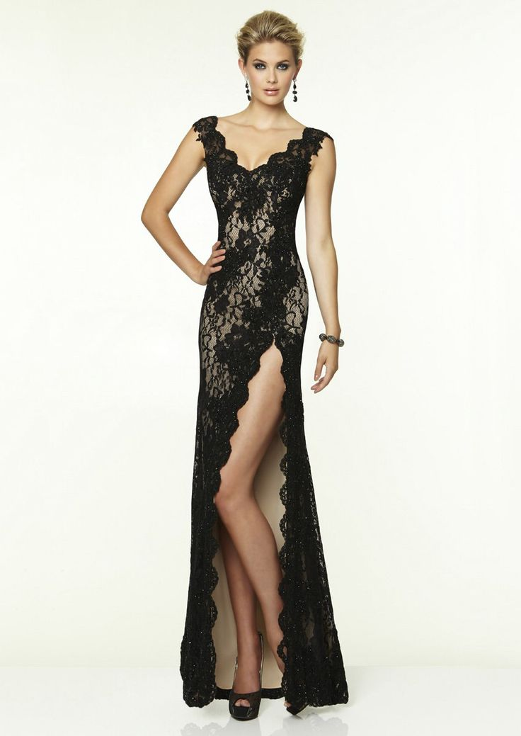 high-slit-black-v-neck-floor-length-lace-sheath-column-prom-evening-dress