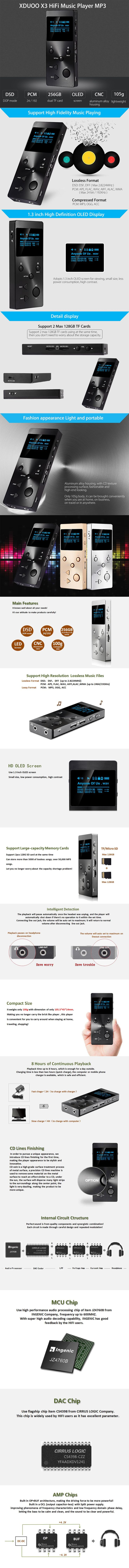 The xDuoo X3 Portable Hi-Fi Music Player is the perfect device for music enthusiast as it will support audio format, 128GB Micro SD card and DSD format.