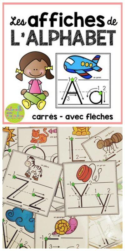 Les affiches de l'alphabet (carrés avec flèches) - FRENCH Square alphabet…