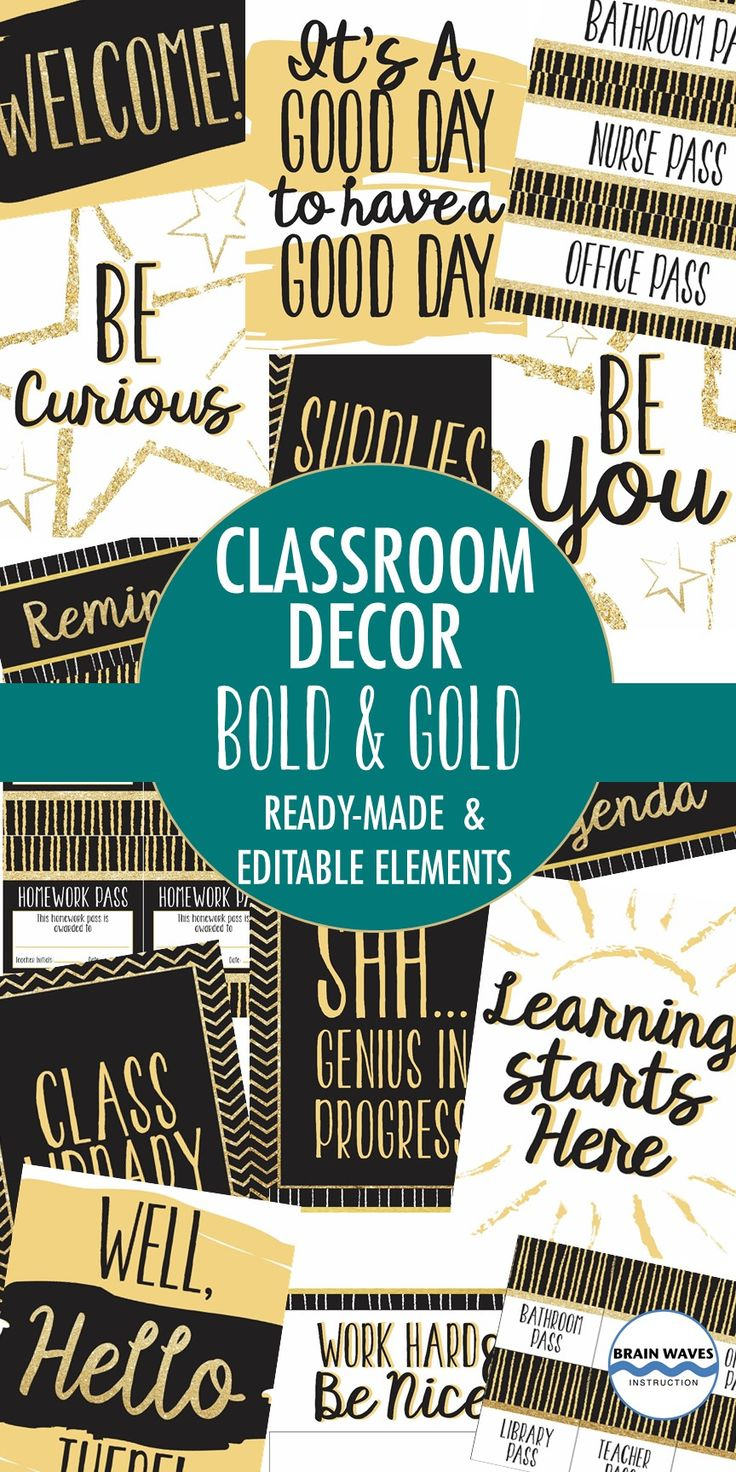 Classroom Decor Black And White ~ Classroom decor pack black and gold decorations