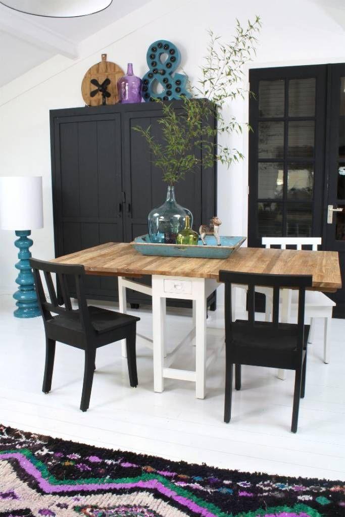 HK-living Kast wit hout 201x162x40cm, Kabinetkast XL - wonenmetlef.nl