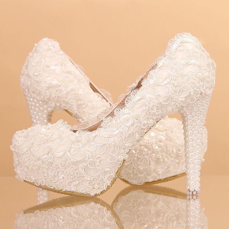 chaussures femme pas cher recouvert de dentelle escarpin mariage discount au talon aiguille aux perles chaussure - Chaussure Mariage Femme Gemo