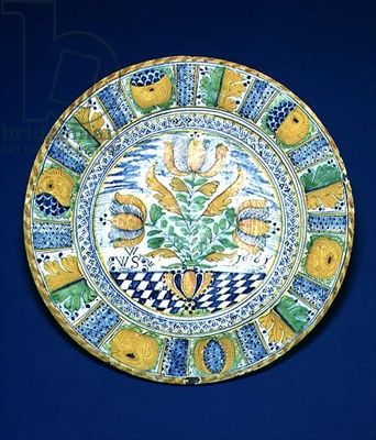 Tulip Charger, 1661 (tin-glazed earthenware)