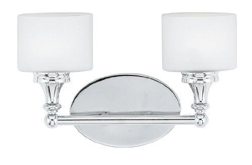 Quoizel QI8602C Quinton 2-Light Bath Fixture, Polished Chrome by Quoizel. $139.99. From the Manufacturer                The cool, oval shaped shades make a unique statement in this piece. The opal etched glass is complemented by the lustrous finish, which adds to the contemporary feel of this sleek design.                                    Product Description                Finish:Polished Chrome, Glass:Opal Etched Glass, Light Bulb:(2)75w T4 G9 120v Halogen The cool, oval sha...
