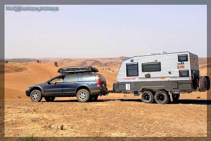 france bivouac et tourisme volvo xc70 with caravan off road trailer 4wd suv 34 raid tente. Black Bedroom Furniture Sets. Home Design Ideas