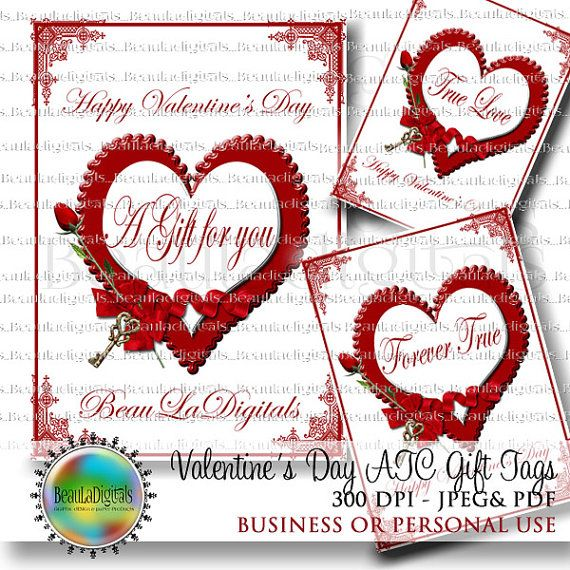 Valentine's Day Gift Tags  ATC or ACEO size by Beauladigitals