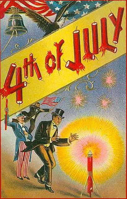 Fourth of July vintage postcard