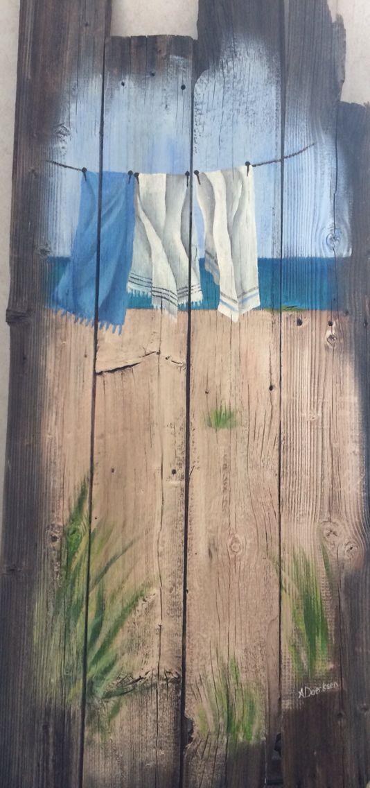 Laundry, clothes line, wood art, barn board paintings, amazing art, reclaimed art, craft, DYI, Acrylic on barn board