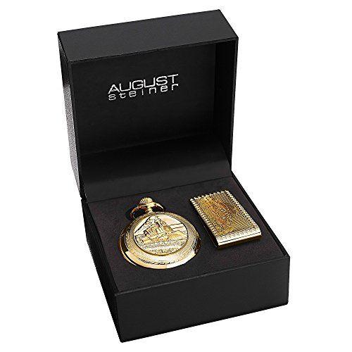 August Steiner Men's AS8144YG Silver & Gold Etched Train Design Quartz Pocket Watch & Money Clip Set Check https://www.carrywatches.com