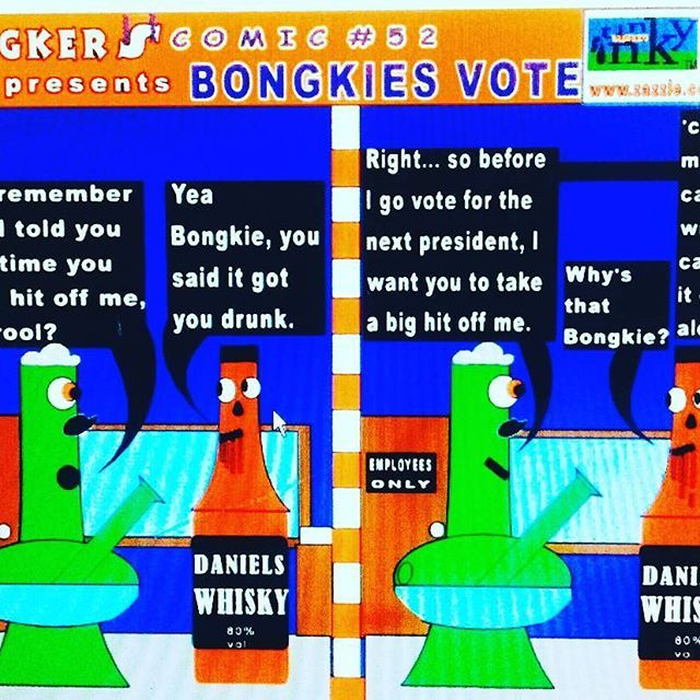 Bonkie the bong is gonna need a little help from Jack the whisky before he goes to the voting booth, & he doesn't want to blame himself for the outcome, www.zazzle.com/bongkers) #cannabis #weed#medicalmarijuana #marijuana#reefer#kush#smoke#smoker#bong#whisky#alcohol#beer#wine#drinks#weedhumor#comedy#comics#comedian#funny#laughter#humor#election#president#apparel#tshirts #shirts #clothingline #fashion #brand#style