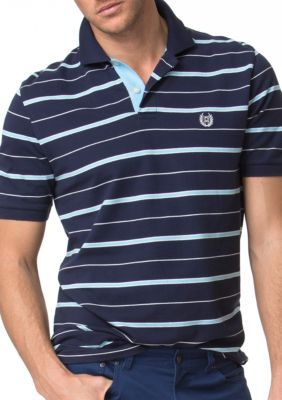 Chaps Newport Navy Striped Pique Polo Shirt