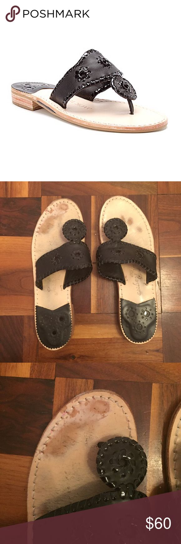 Jack Rogers Black Palm Beach Sandals Sandals only worn a few times. They have a red stain near the front that is hardly noticeable when worn. They are in good condition! Jack Rogers Shoes Sandals