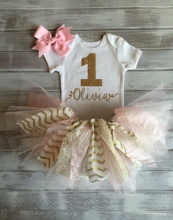Monogrammed Pink and Gold Chevron Lace 1st Birthday Outfit Baby Girl Tutu Bodysuit Bow Set Personalized Gold and Pink Birthday Smash Cake