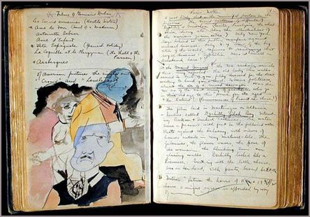 Henry Miller's Paris notebooks from 1932 to 1936, with manuscript, drawings, paintings and typed notes on ideas and resources for his writings.