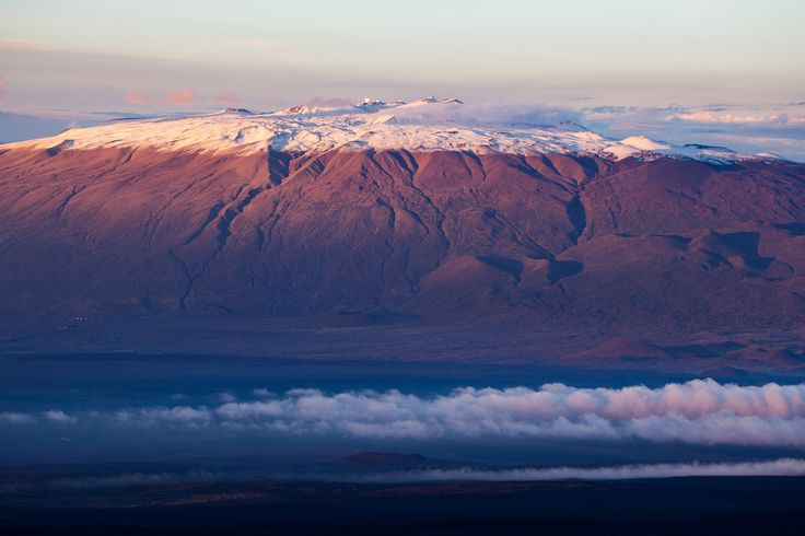 https://flic.kr/p/P78MmQ | A Snowy Sunset on Mauna Kea | Taken at sunset tonight from Mauna Loa.   Andrew Cooper posted some great photos from today on Mauna Kea at darkerview.com/wordpress/?p=20727.