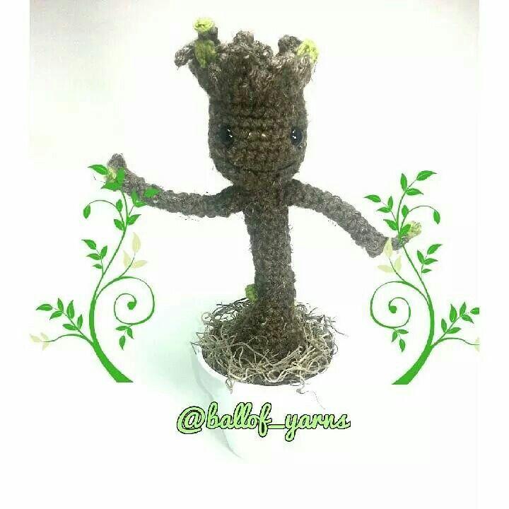 I.Am.Groot. dancing away   Pattern by  twinkiechan #guardianofgalaxy #amigurumi #stuffedtoy