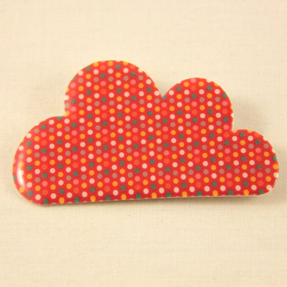 Cloud Shrink Plastic Brooch Pin with Resin by by kelliechristie,