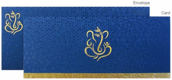www.regalcards.com for this vibrant and modern Hindu wedding invitation card with gold foiled and embossed Ganesha.