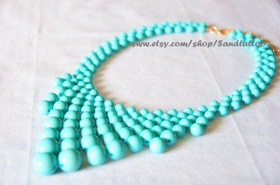VENTE - Aqua Turquoise - perle collier, collier de bulles, Bib collier Turquoise bulle déclaration - chaine dorée de ton