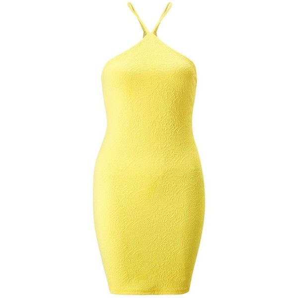 Miss Selfridge Petites 90s Neck Bodycon Dress (€25) ❤ liked on Polyvore featuring dresses, petite, yellow, textured dress, bodycon dress, miss selfridge dress, body conscious dress and petite dresses