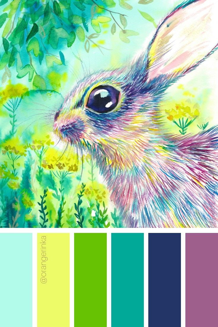Spring Color Palette Based On Original Watercolor Painting By